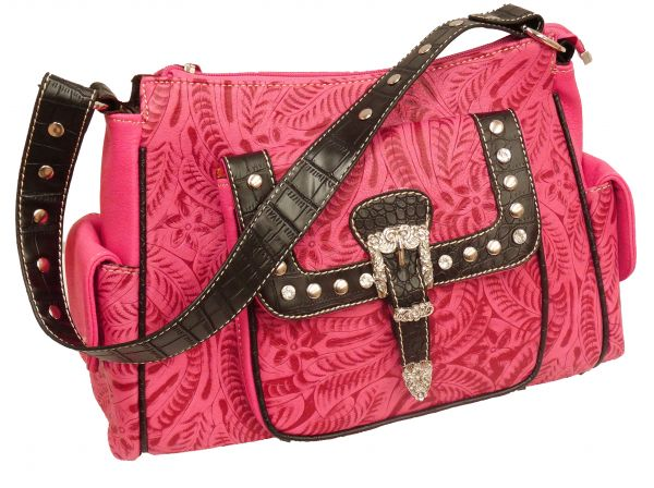 Hot pink embossed  leather purse with black gator trim