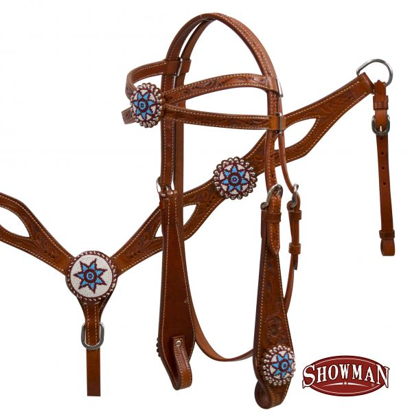 Beaded concho headstall and breast collar set.-Beaded concho headstall and breast collar set.