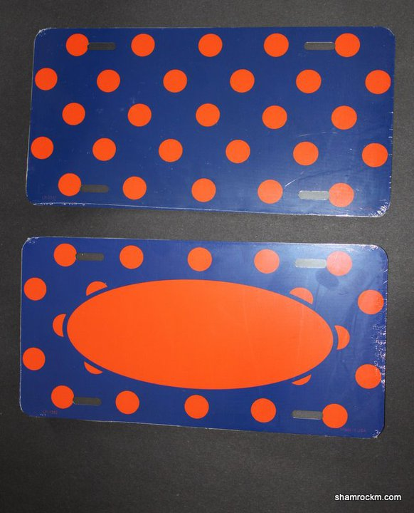 Blue w/Orange Polka Dot License Plates-Blue w/orange polka dot license plate
