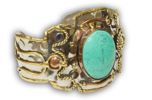 "2"" metal turquoise stone cuff bracelet with copper and gold accents"