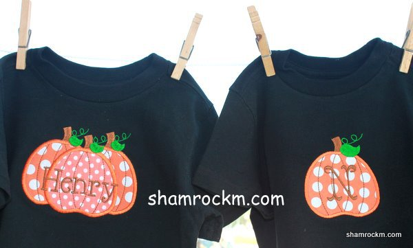 Brother/Sister Halloween Shirts-blanks applique embroidery