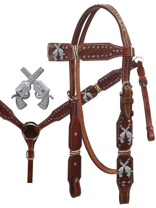 Crossed Guns Headstall and Breast Collar Set.-Crossed Guns Headstall and Breast Collar Set.