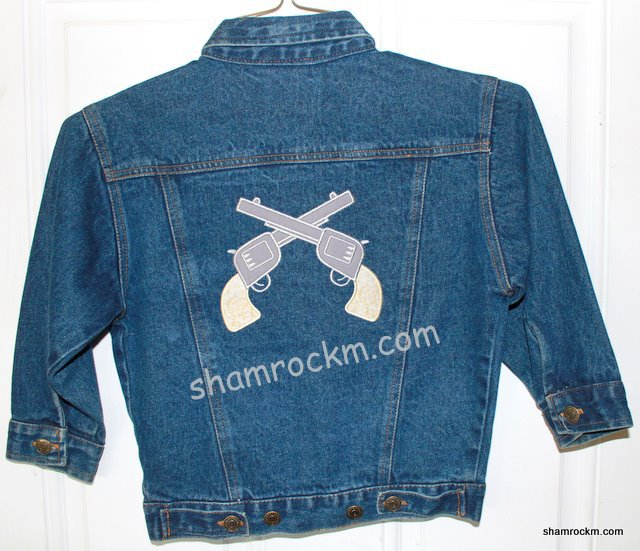 Denim Jacket with Crossed Pistols-denim jacket crossed pistols applique embroidery