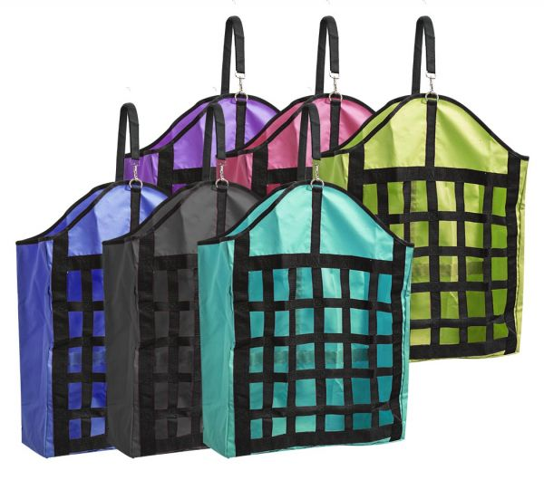 Webbed nylon slow feed hay bag