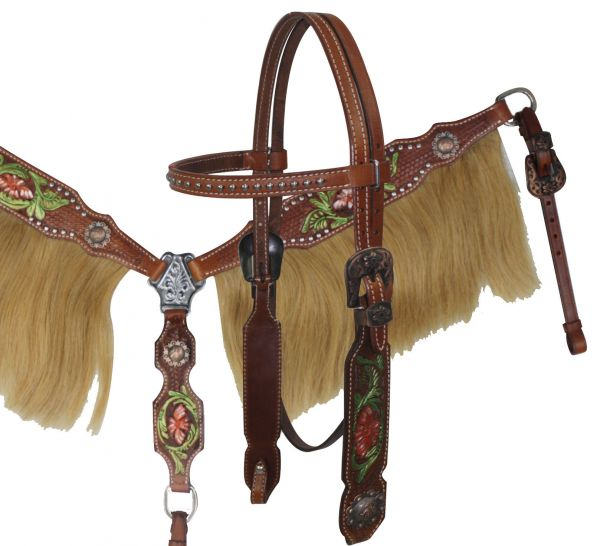 Painted tooling with horse hair fringe set-fringe breast collar headstall set