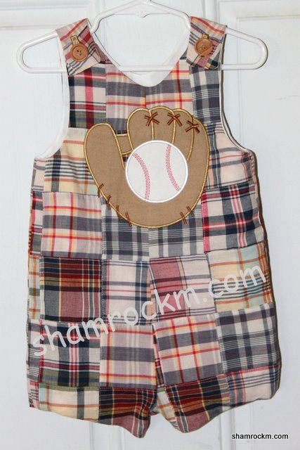 Patchwork Jon-Jon with Baseball Glove-applique embroidery