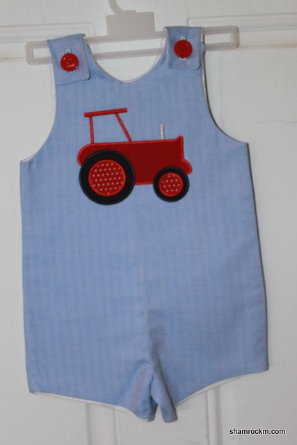 Jon-Jon with Tractor- applique embroidery