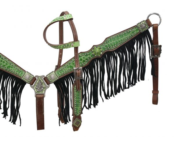 Lime alligator print breast collar set with black fringe-Lime alligator print breast collar set with black fringe