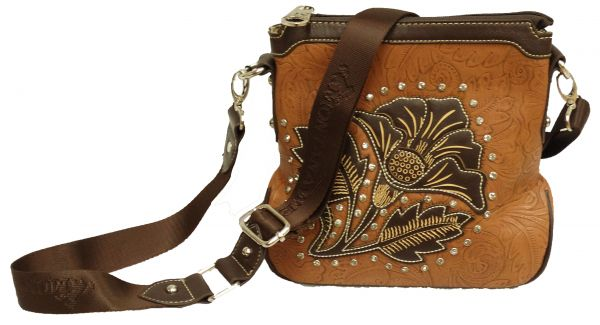 Montana West � Floral messenger bag with rhinestones.