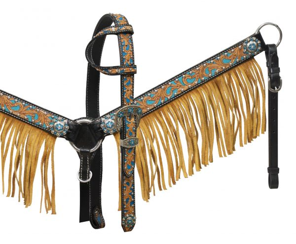 Black leather breast collar set with natural fringe-fringe breast collar headstall set