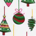 Ornaments on White-fabric, Christmas fabric, ornament fabric