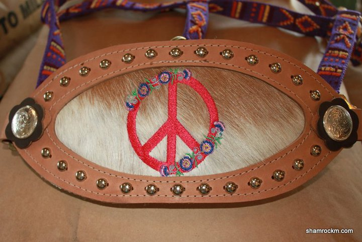peace sign and flowers noseband-bronc halter noseband