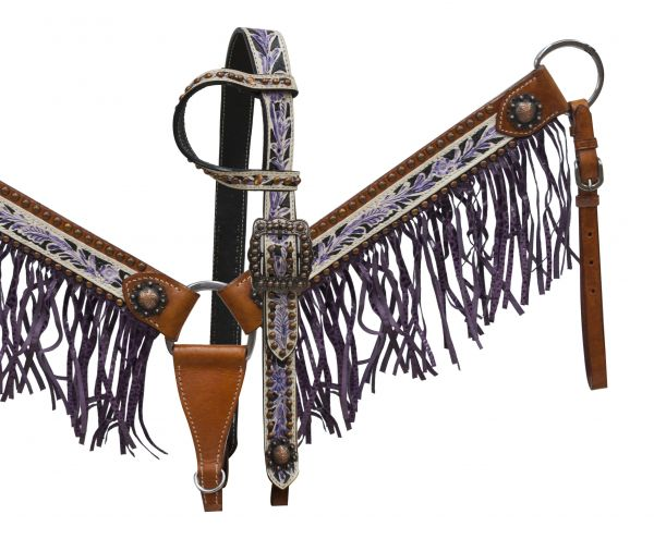 Painted leather and purple alligator fringe set-fringe breastcollar headstall set