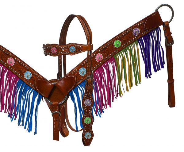 Multi colored fringe and conchos breast collar set-Multi colored fringe and conchos breast collar set