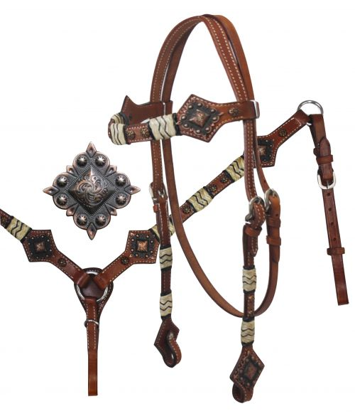 Headstall and Breast Collar Set with Rawhide Braiding and Diamond Plate Conchos-Headstall and Breast Collar Set with Rawhide Braiding and Diamond Plate Conchos