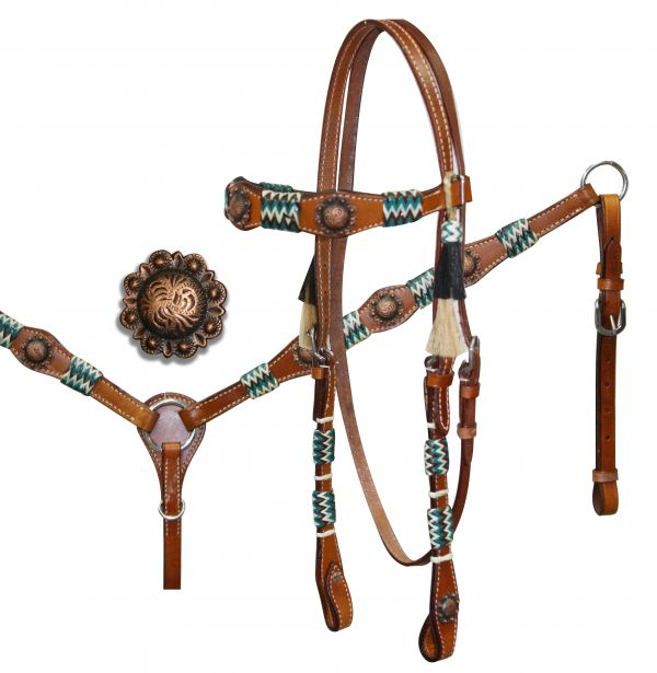 Rawhide Braided Headstall and Breastcollar Set with Antique Style Conchos.-Rawhide Braided Headstall and Breastcollar Set with Antique Style Conchos.
