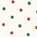 Red and Green dots on White-polka dot fabric,christmas fabric