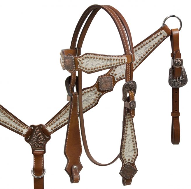 Double Stiched Leather Silver Filigree Headstall and Breast Collar Set