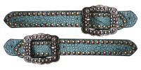 Ladies spur strap in teal alligator print-Ladies spur strap in teal alligator print