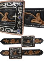 Ladies Size Black and Medium Leather Belt Spur Straps.-Ladies Size Black and Medium Leather Belt Spur Straps.