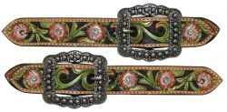 Ladies floral belt style spur strap with painted floral-Ladies floral belt style spur strap with painted floral
