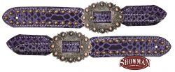 Ladies purple snake print belt style spur straps with copper accents.-Ladies purple snake print belt style spur straps with copper accents.