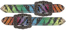 Ladies size rainbow zebra print belt spur straps.