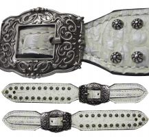 Ladies Size Silver Alligator Print Belt Spur Straps.-Ladies Size Silver Alligator Print Belt Spur Straps.