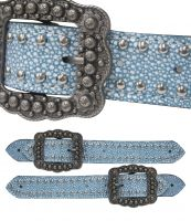 Ladies belt style spur strap in teal stingray print-Ladies belt style spur strap in teal stingray print