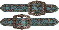 Ladies Teal  with Filigree Print-Ladies Teal spur straps with Filigree Print