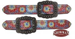 Ladies size tie dye print belt spur straps.