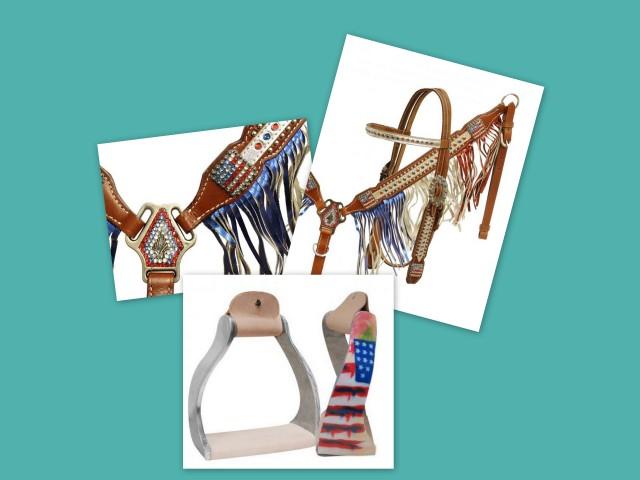 Patriotic Breast Collar set with American Flag Stirrups-Patriotic Breast Collar set with American Flag Stirrups