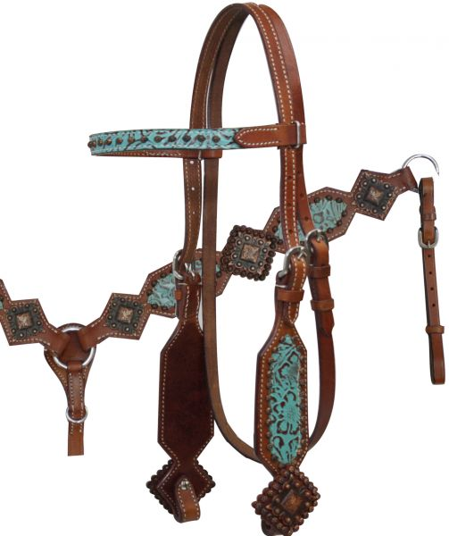 Filigree Print Headstall and Breast Collar Set.-Filigree Print Headstall and Breast Collar Set.