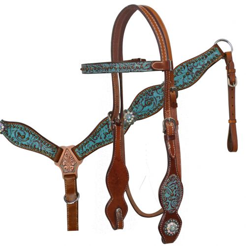 Headstall and Breast Collar Set with Teal and Brown Filigree Print.-Headstall and Breast Collar Set with Teal and Brown Filigree Print.