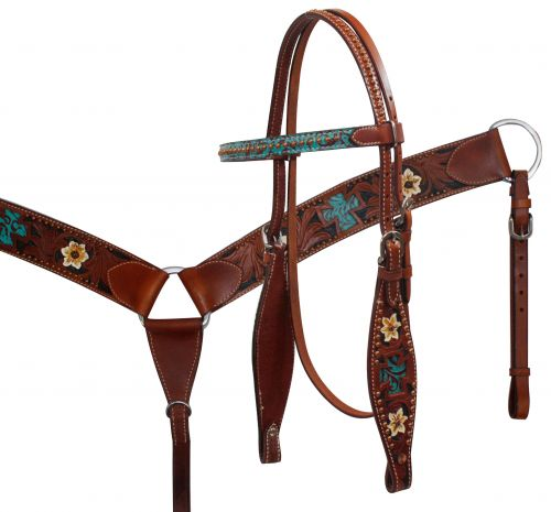 Headstall and Breast Collar Set with Teal Filigree Cross Inlay and Painted Flowers.