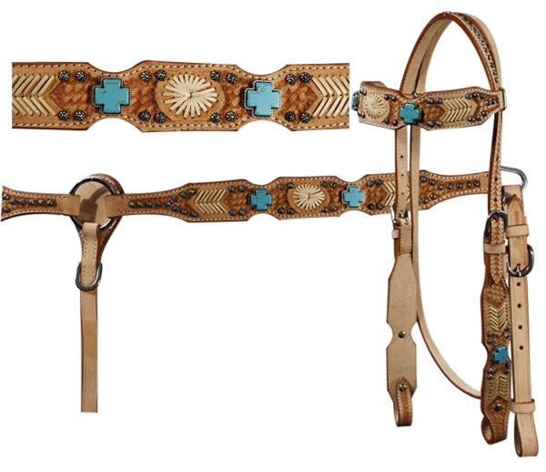 headstall and breast collar set with turquoise cross stones, rawhide accents and basket weave tooling.-headstall and breast collar set with turquoise cross stones, rawhide accents and basket weave tooling.
