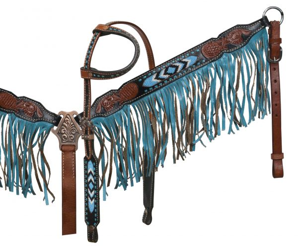 Black and medium leather headstall and breast collar set with beaded inlay and suede fringe