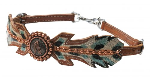 Medium leather hand painted feather wither strap